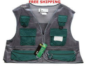 Timber Creek Pocketed Outdoor Mesh Vest Hunting,Fishing,Hiking XXL Gray Green