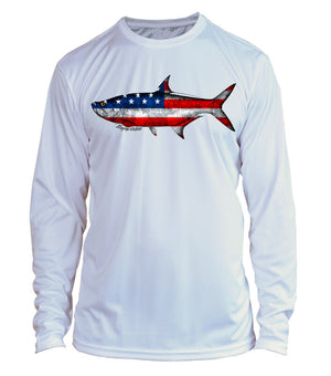 Microfiber Long Sleeve UPF 50 Flats Fishing Tarpon Fishing Shirt - American Flag