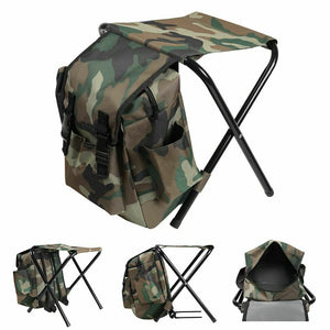 Multi-Function Camouflage Backpack Portable Folding Chair Camping Fishing Stool