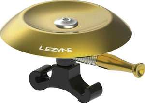 Lezyne Classic Shallow Brass Bell: Black & Gold Bicycle Alert Bell