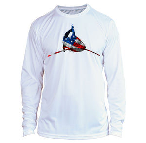 Microfiber Long Sleeve Spear Fishing American Flag Shark Shirt UPF 50 USA Shark