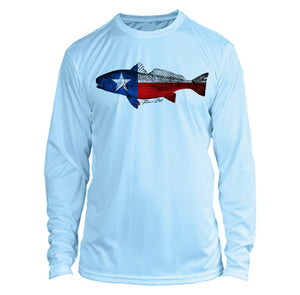 Microfiber Long Sleeve UPF 50 TEXAS Flag Redfish Fishing Shirt - Arctic