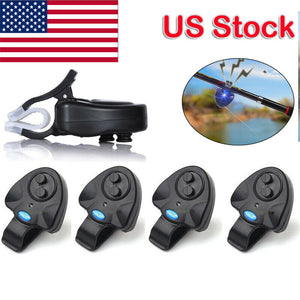 4* Electronic LED Light Fish Bite Sound Alarm Bell Clip On Fishing Rod Hot 2019