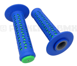 AME old school BMX Unitron bicycle grips BLUE over GREEN - HARO MASTER