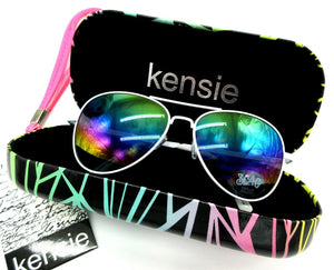New KENSIE Colorful Hard Eyeglass Case + FREE Iridescent Aviator Sunglasses