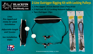 Outrigger Rigging Kit - 2 Line Set 50 Ft Lines+ Hal-Lock Locking Pulleys & Clips