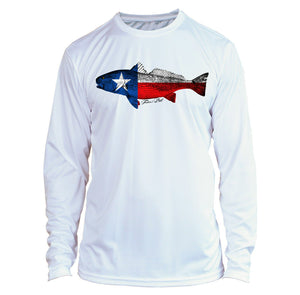 Microfiber Long Sleeve UPF 50 TEXAS Flag Redfish Fishing Shirt - White