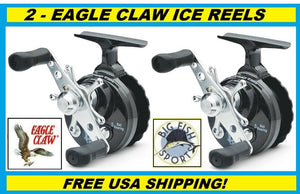 2 EAGLE CLAW Inline Ice Reel #ECILIRB FREE USA SHIPPING NEW, TWO REELS!