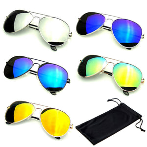 SUNGLASSES Mens Mirrored Mens Womens UV400 New Lens Frame Color Retro Vintage