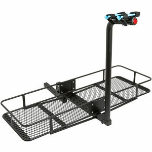 Hitch-Mounted Folding Cargo Carrier with 2-Bike Rack 500 lb Capacity