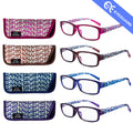 Reading Glasses Spring Hinge Stylish Readers Square Pattern Women 4 Pairs /Pack