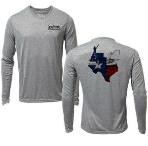 Long Sleeve Microfiber UPF UV Texas Flats Fishing Shirt - Heather Gray