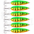 6pcs 2oz Fishing Trolling flutter Spoons with Treble Hooks Casting Jigs Lure NEW