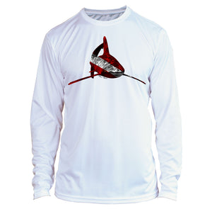 Microfiber Long Sleeve UPF 50 Spear Fishing Dive Flag Shark Shirt - Latin Shark