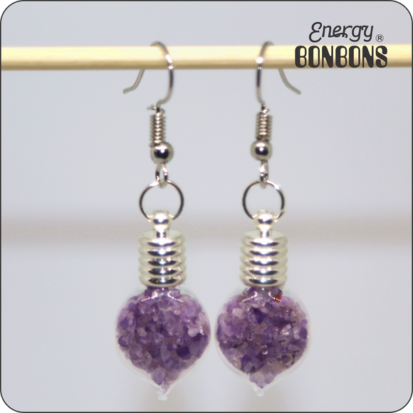 Energy Bonbons - Crushed Gemstone Earrings - Heart - Amethyst