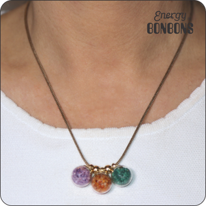 Amethyst | Carnelian | Malachite - Raw Natural Crushed Gemstones Pendant Necklace for Women