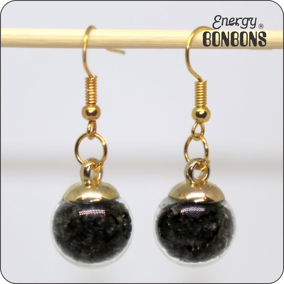 Energy Bonbons - Crushed Gemstone Earrings - Black Obsidian