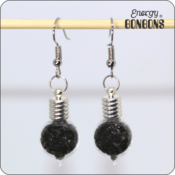 Energy Bonbons - Crushed Gemstone Earrings - Heart - Black Obsidian