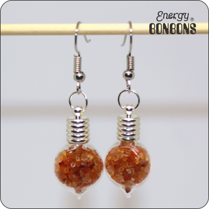 Energy Bonbons - Crushed Gemstone Earrings - Heart - Carnelian