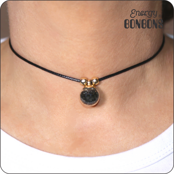 Black Obsidian Gemstone Choker Necklace - Energy Bonbons
