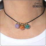 Amethyst | Carnelian | Malachite - Raw Natural Crushed Gemstones Pendant Choker Necklace for Women