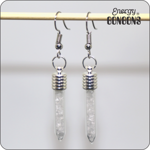 Energy Bonbons - Crushed Gemstone Earrings - Sticks - Clear Quartz