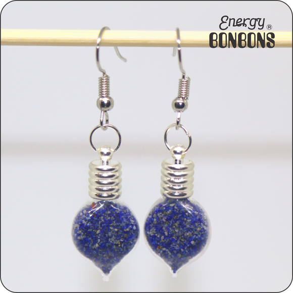 Energy Bonbons - Crushed Gemstone Earrings - Heart - Lapis Lazuli