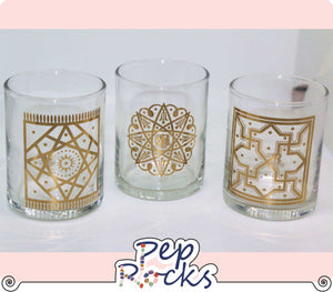 Gold silk screen votive candle holder - Assorted designs