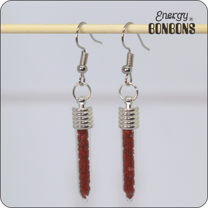 Energy Bonbons - Crushed Gemstone Earrings - Sticks - Red Jasper