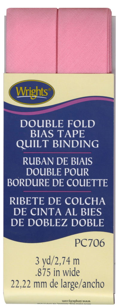 Wrights Double Fold Quilt Binding - Pink