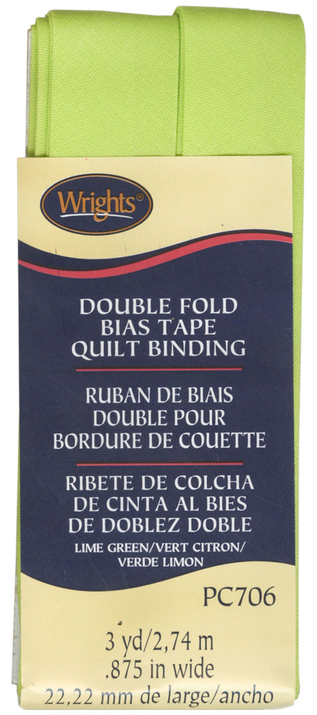 Wrights Double Fold Quilt Binding - Lime Green