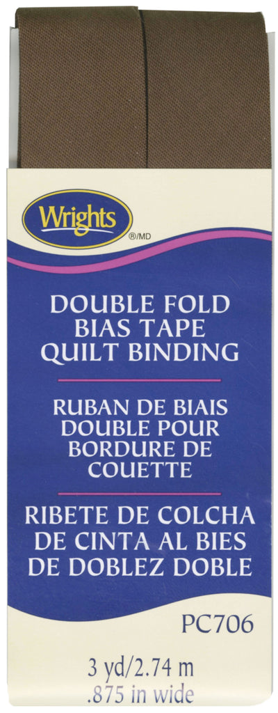 Wrights Double Fold Quilt Binding - Seal Brown