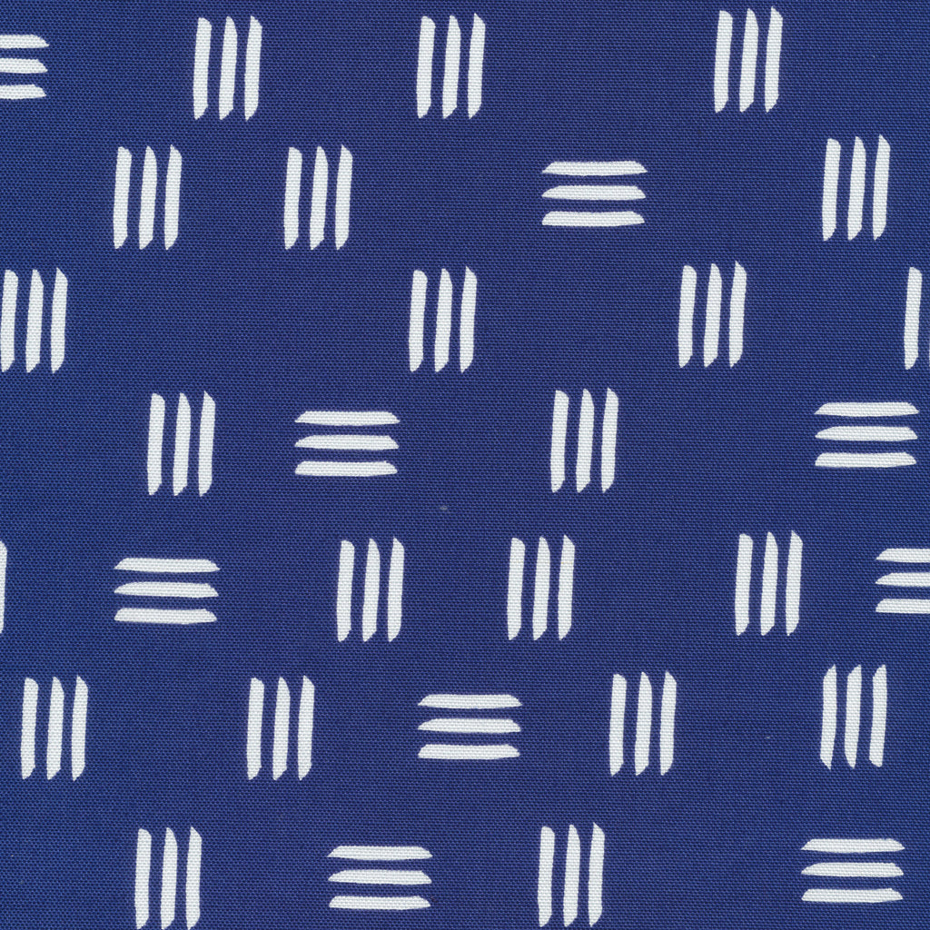 Dashes Indigo Blue Cotton Canvas from Lines & Shapes by Leah Duncan for Cloud9 Fabrics