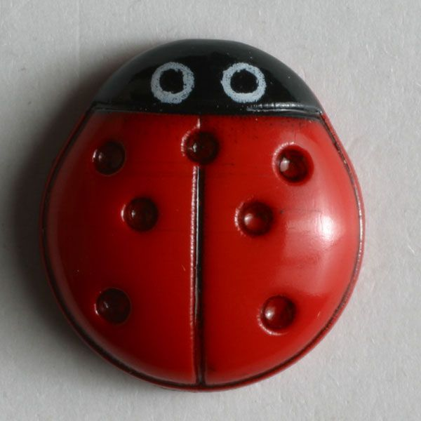 Ladybug Button - 15mm - Red