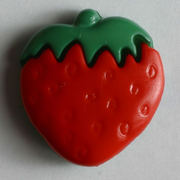 Strawberry Button - 15mm - Red