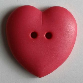 Heart Button - 15mm - Hot Pink