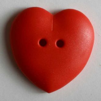 Heart Button - 15mm - Red