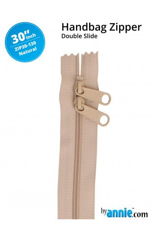 "ByAnnie 30"" Double Slide Handbag Zipper - Natural"