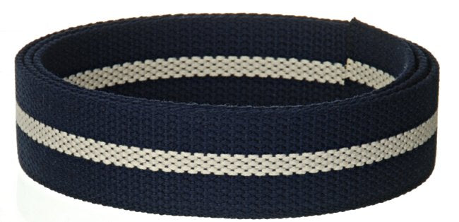 "Synthetic Cotton Canvas Webbing - 1.5"" Wide - Navy Blue and Ivory Stripe"