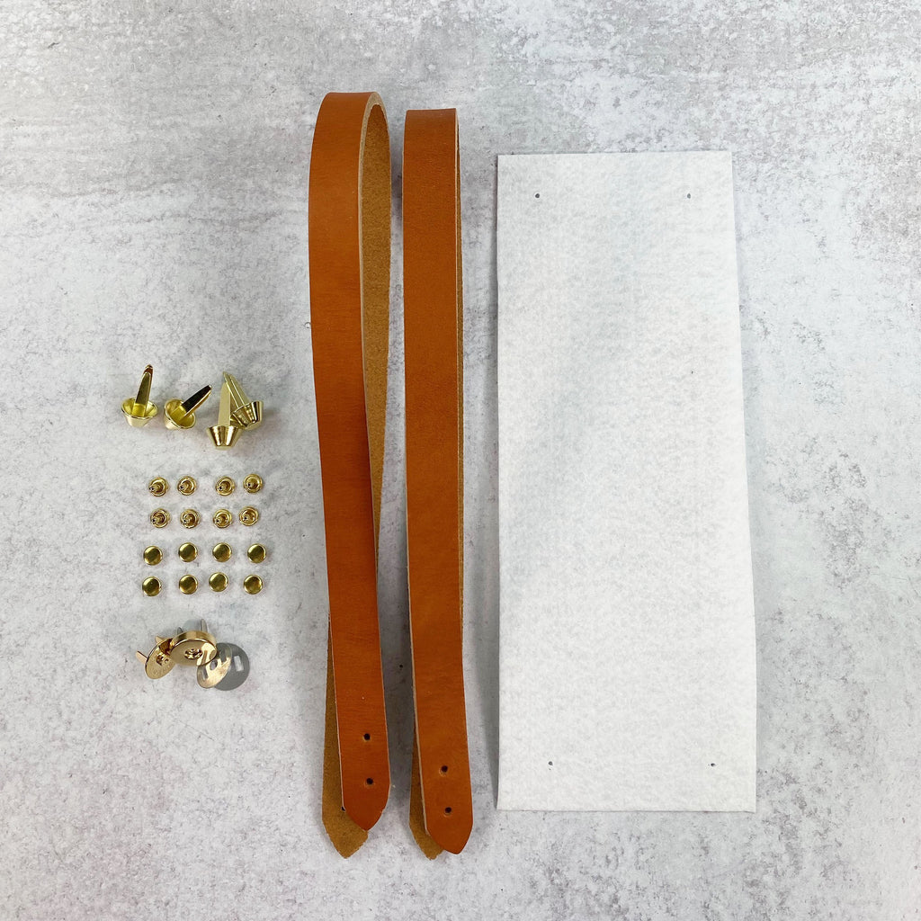 Lincoln Tote Leather Handles & Hardware Kit - Tan