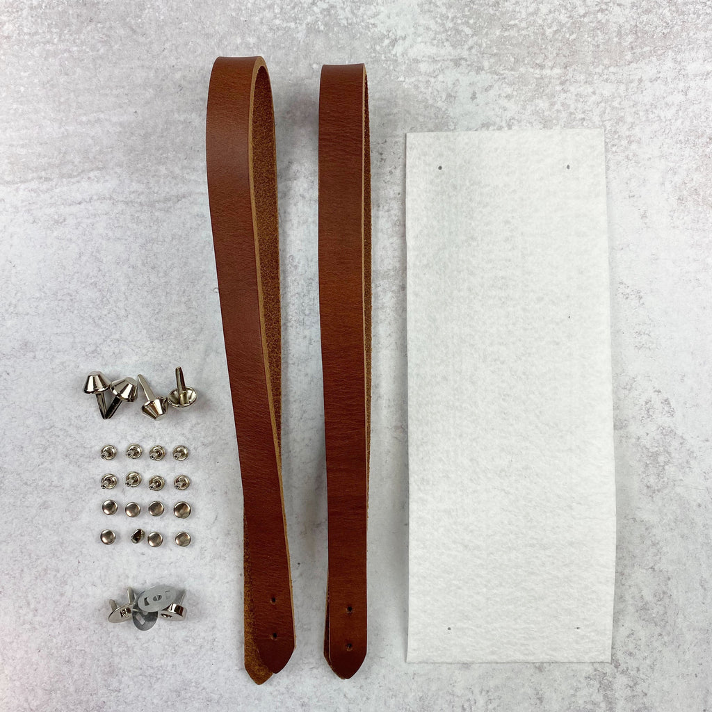 Lincoln Tote Leather Handles & Hardware Kit - Chestnut