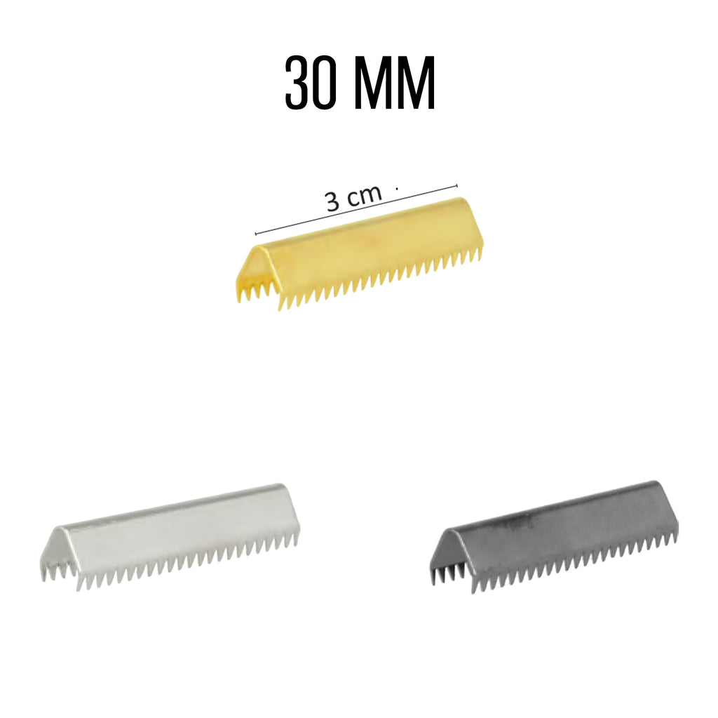 End Clips For Straps, 6pcs per Card, 30mm - Gold