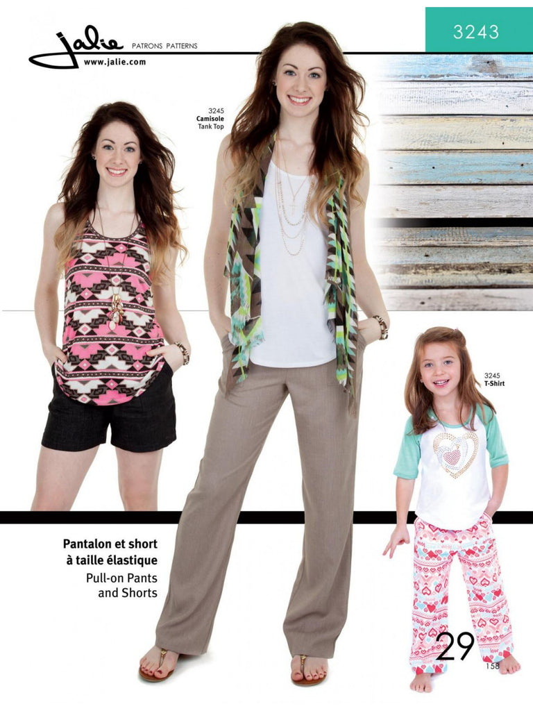 Jalie Patterns Pull-on Pants and Shorts #3243
