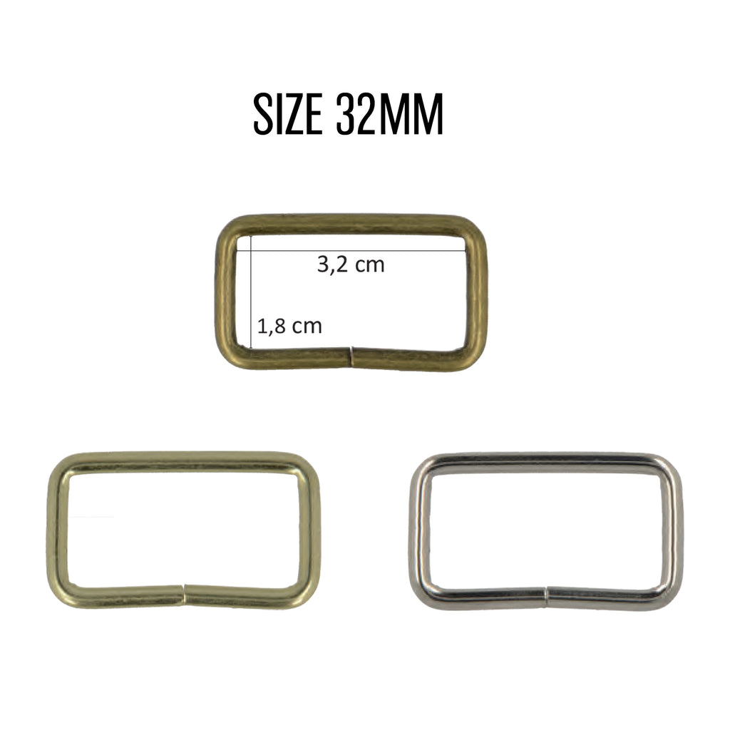 Rectangle Rings, 32mm, 2pcs/Pk - Silver