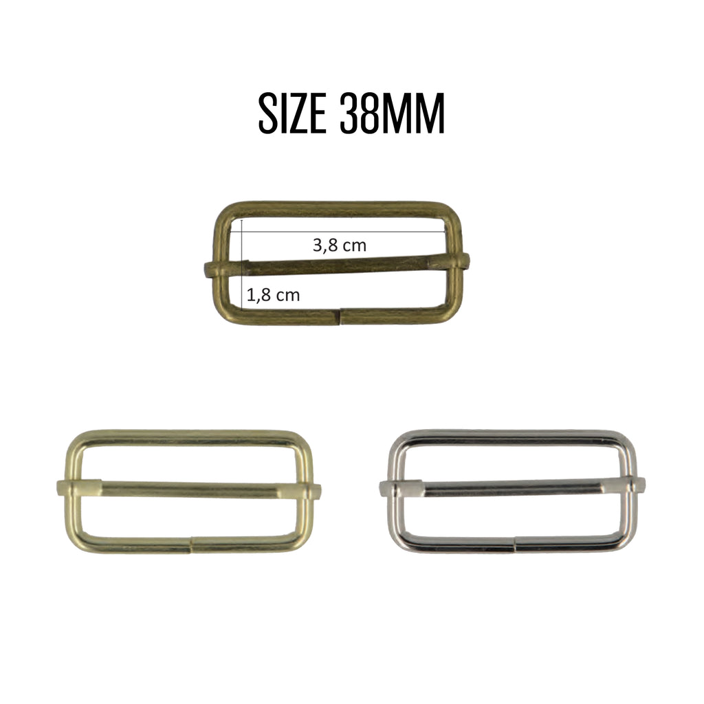 Adjusting Buckles, 38mm, 2pcs/Pk - Antique Gold