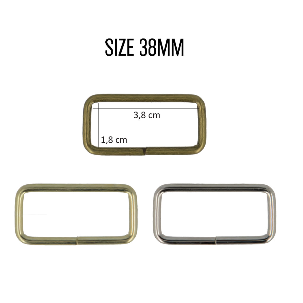 Rectangle Rings, 38mm, 2pcs/Pk - Gold