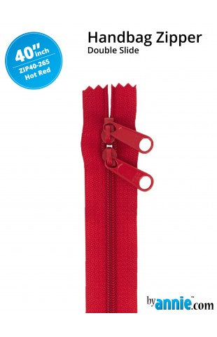 "ByAnnie 40"" Double Slide Handbag Zipper - Hot Red"