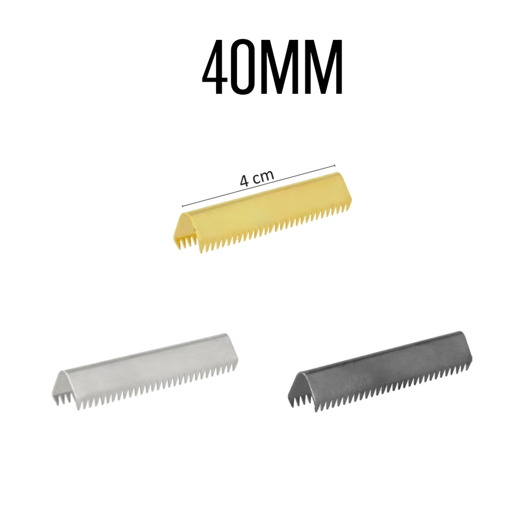 End Clips For Straps, 4pcs per Card, 40mm - Silver