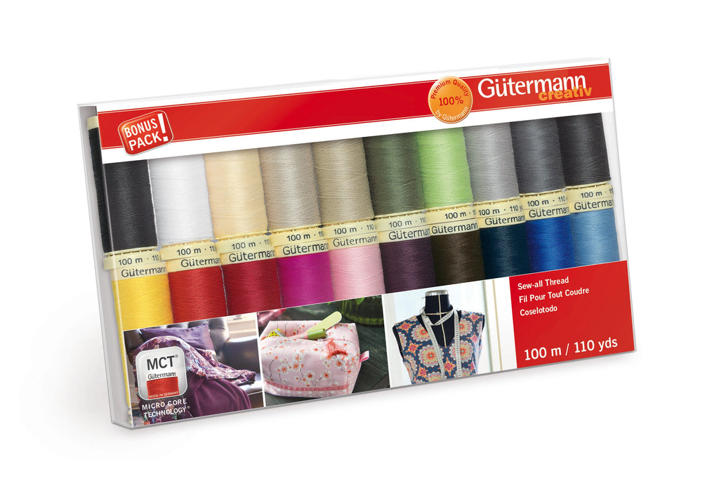 Gutermann Sew-All Polyester Thread 100m -  20 Spool Basic Thread Colors