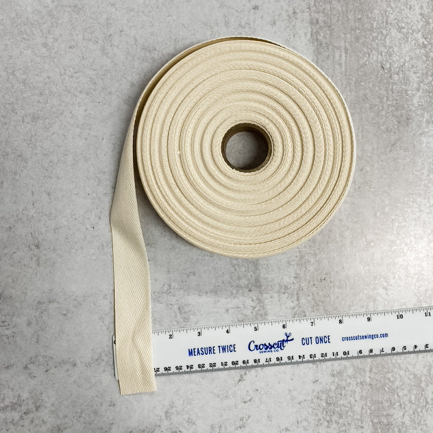 "Heavy Cotton Twill Tape 1.25"" - By the Yard - Natural"